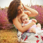 Mother and baby in park, outdoors portrait