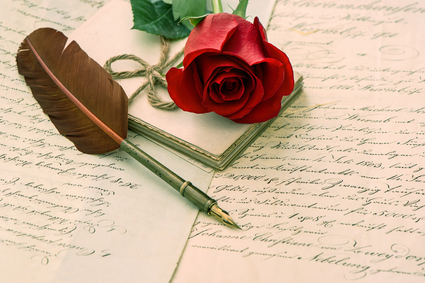 old love letters, rose flower and antique feather ink pen